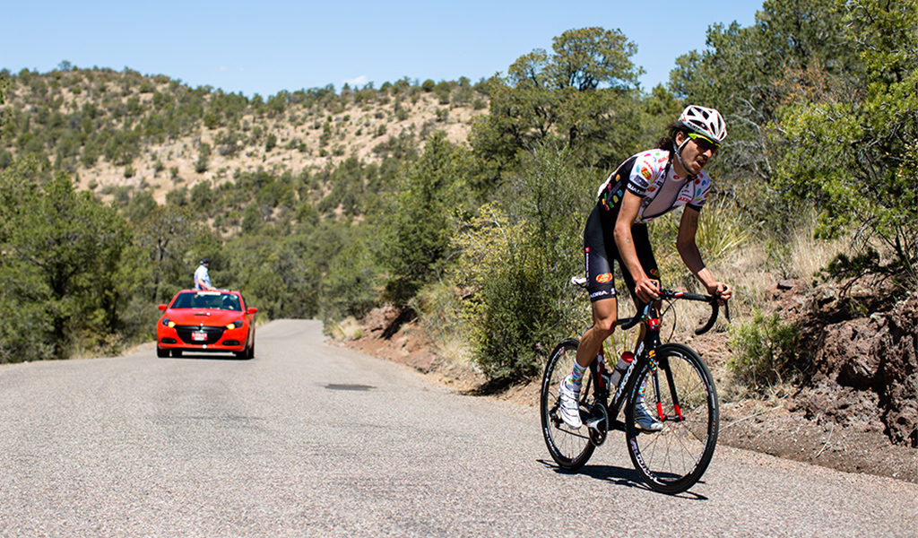 Lachlan Morton (Jelly Belly-Maxxis) on his way to a 25-second stage win over Rob Britton (Rally Cycling), Stage 1, 2016 Tour of the Gila. Photo: Bo Bickerstaff.