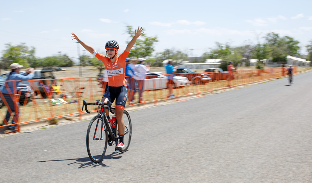 Jasmin Glassier (Rally Cycling) won Stage 2 in Fort Bayard.