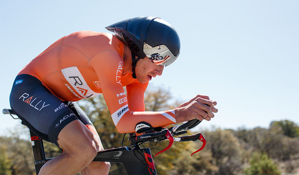 Tom Zirbel (Rally Cycling) on his way to winning the Gila time trial for a second consecutive year.
