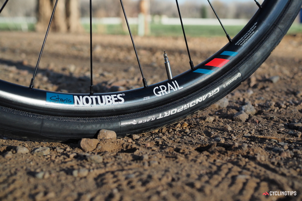 Given the Grade Carbon Ultegra's jack-of-all-trades demeanor, GT's choice of comparatively narrow 28mm Continental tires seems rather odd. They're fast on pavement but outgunned on the types of surfaces where the bike can really excel.