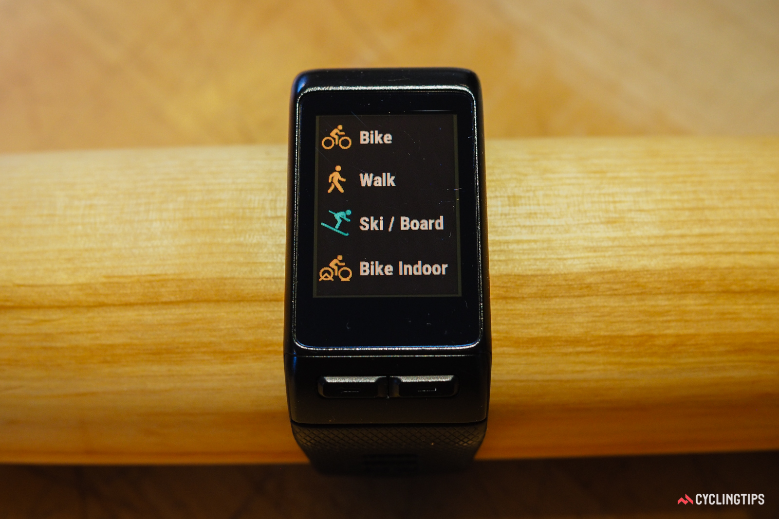 The list of compatible activities on the Garmin Vivoactive HR can be altered as needed. Not much of a hiker? Simply hide the option from the list.