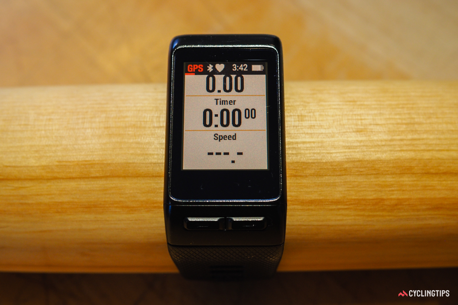 The Garmin Vivoactive HR's cycling data screens can't be customized, but they're at least much more useful than the ones on the Fitbit Surge.