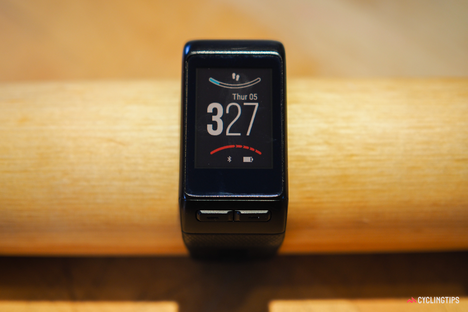 Overall, the Garmin Vivoactive HR is a more fully featured smartwatch than the Fitbit Surge. The standard main screen provides basic information such as time of day, the day, and the date, as well as visual measures of your daily step goal and how frequently you should be getting up from your chair to move around.