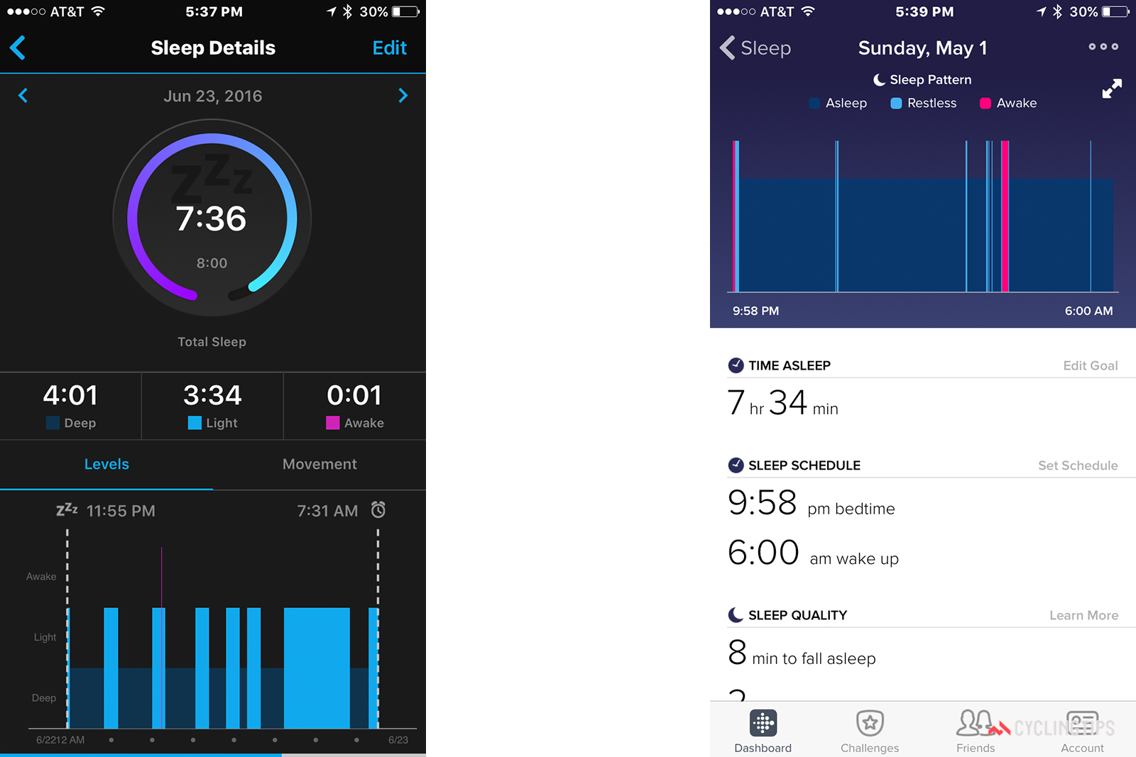 Both devices track your sleep patterns. The information is interesting, but neither app provides any guidance in terms of what you should do with the data.