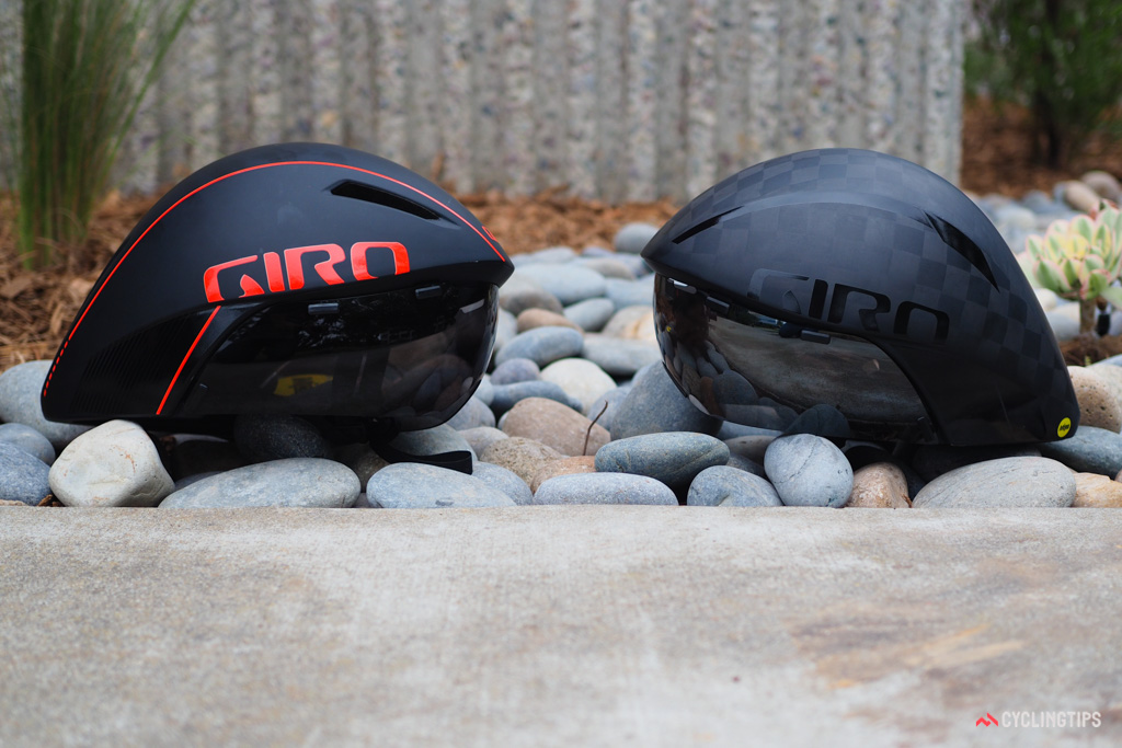The new Giro Aerohead MIPS (left) and Aerohead Ultimate MIPS (right) bear nearly identical profiles that are virtually indistinguishable by the naked eye.