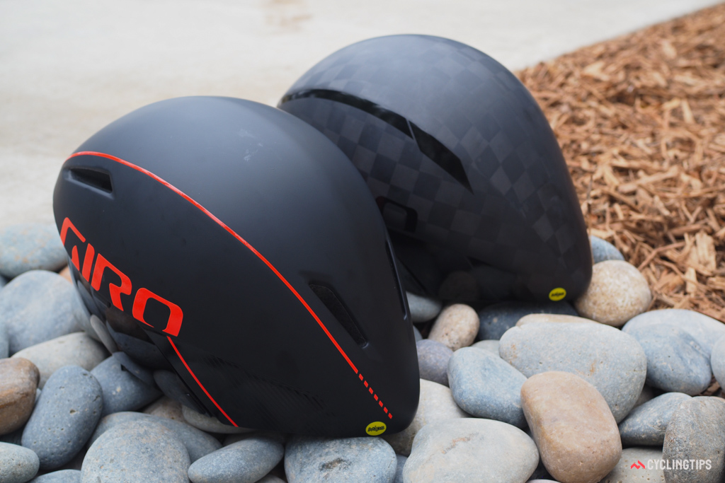 Only riders with the deepest of pockets are likely to splurge on the carbon fiber Giro Aerohead Ultimate MIPS (right).