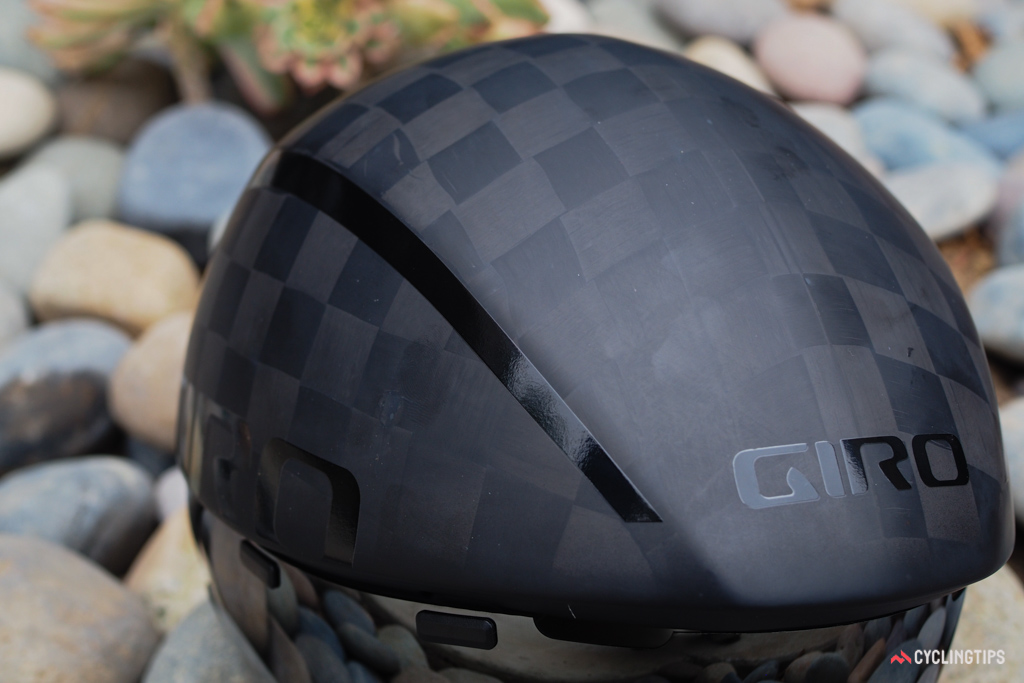 This is the first time Giro has used a full carbon fiber shell in a helmet.