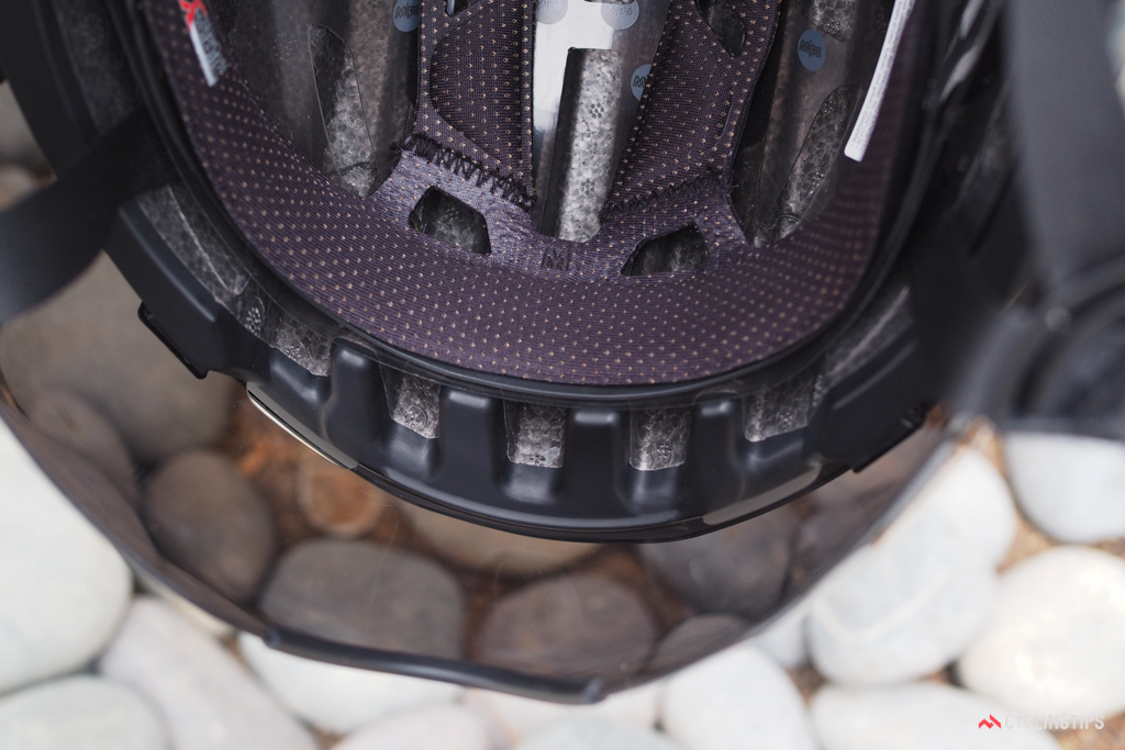 Big channels around the base of the helmet are meant to draw in cooling air through the interior.