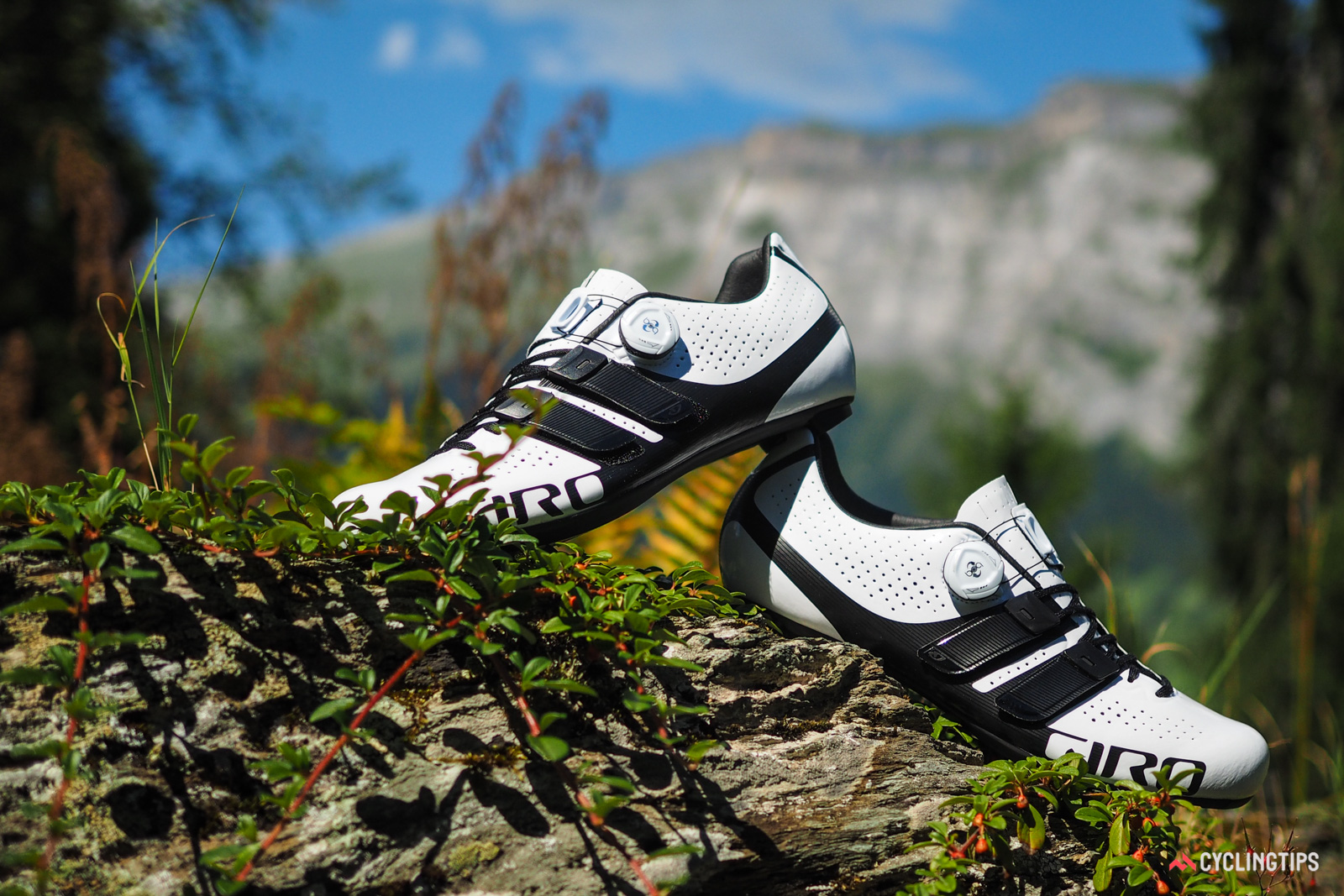 Giro's new Factor Techlace blends Boa, hook-and-loop, and lace closures in one road shoe. The single Boa IP1 cable reel is used as the primary closure to really lock your foot in place, and Giro will offer the dials in four different colors for customization.
