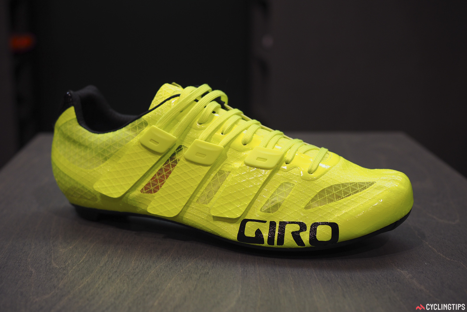 Giro previewed a new ultralight shoe at Eurobike called the Prolight Techlace. It uses the same Techlace closure concept as on the Factor Techlace that was launched last week, but in a dramatically pared-down form that weighs just 137g per shoe. The design still isn't completely finalized, though, and Giro estimates the production version will be more like 150g per size 42 shoe. Photo: James Huang.
