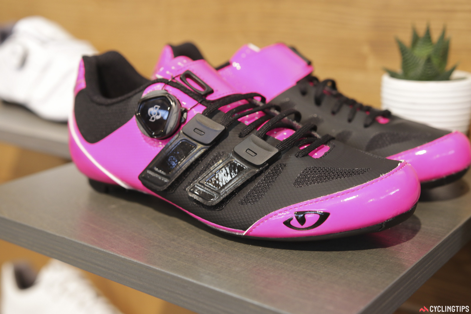 The new Giro Raes TechLace offers laces, BOA and Velcro all-in-one. So much choice. Photo: David Rome.