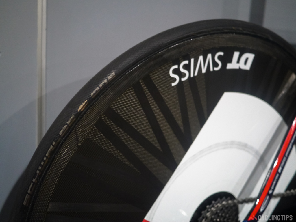 Even though it's labled up as a DT Swiss wheel from the unique carbon layup it's obvious that it is infact a Lightweight Autobahn.