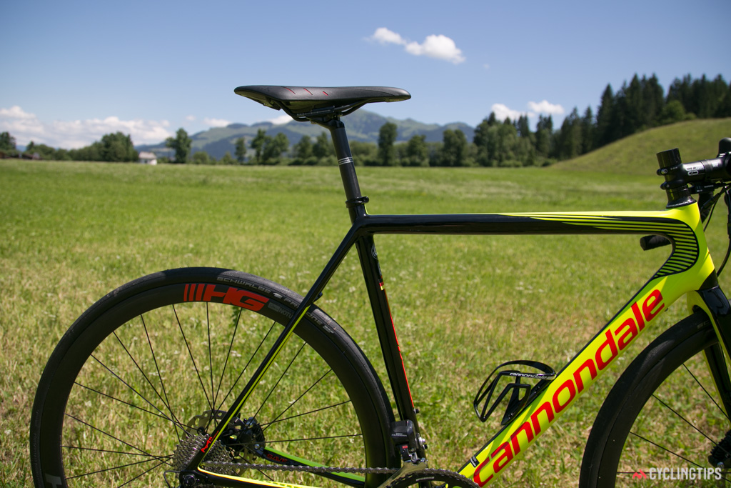 The Evo Hi-Mod Disc retains the 25.4mm seatpost of previous incarnations.