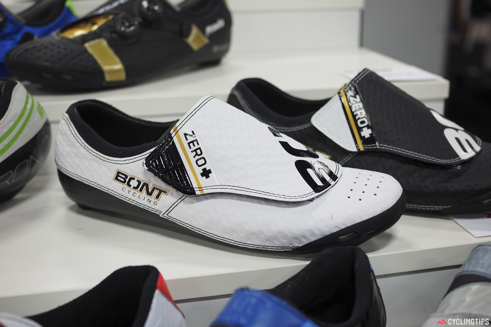 The Bont Zero+ gets a makeover this year, with a more competition-oriented last borrowed from the Vaypor S. The cover and dimpled surface are intended to reduce aerodynamic drag. Retail price is US$439.