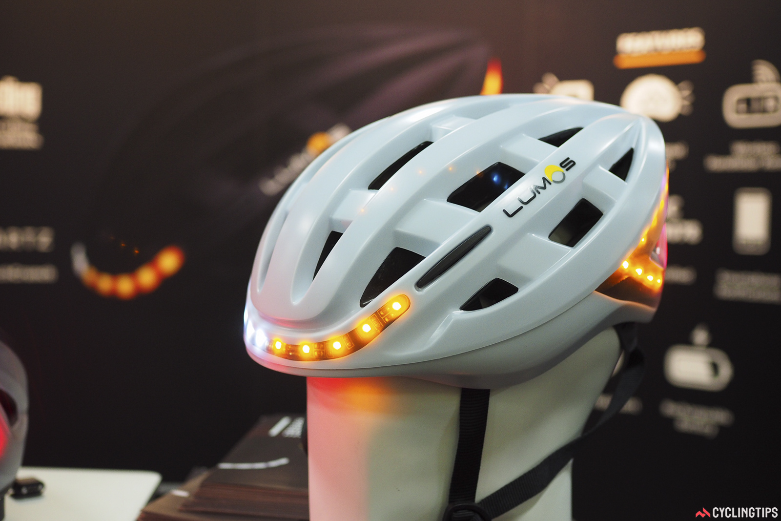Upstart helmet company Lumos showed off this fully lit helmet, complete with front and rear LED lights as well as left and right turn indicators.