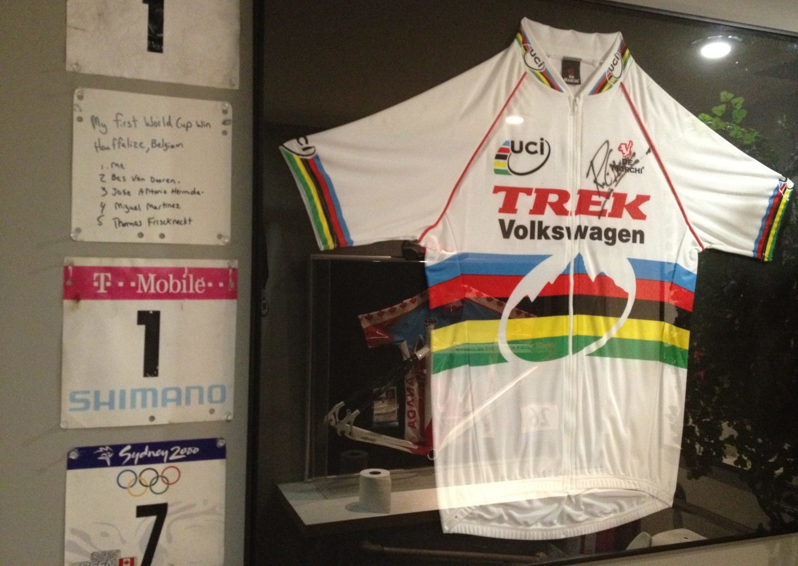 Roland Green world champion's jersey, number plates, Trek Bicycle Store of Victoria. Photo: Neal Rogers.