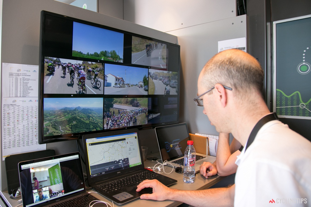 Peter Gray keeps an eye on the performance of the Dimension Data live-tracking during stage 10 of the Tour de France.