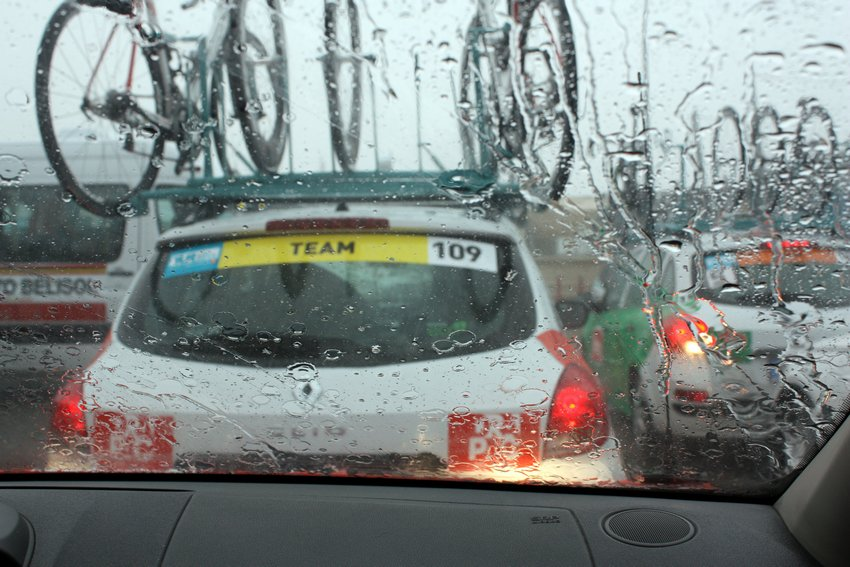 View from the Drapac team car during stage 2.