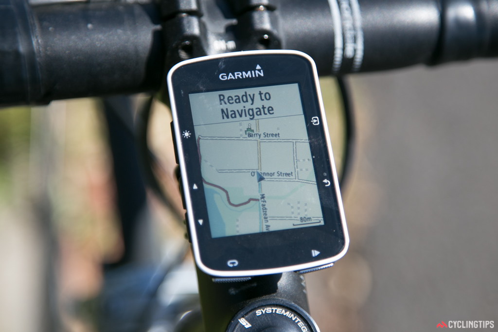 OpenStreetMaps can be used to detail-rich maps to the Edge 520 for free. Bike tracks and other paths are shown too (see the purple line on the bottom left of the screen).