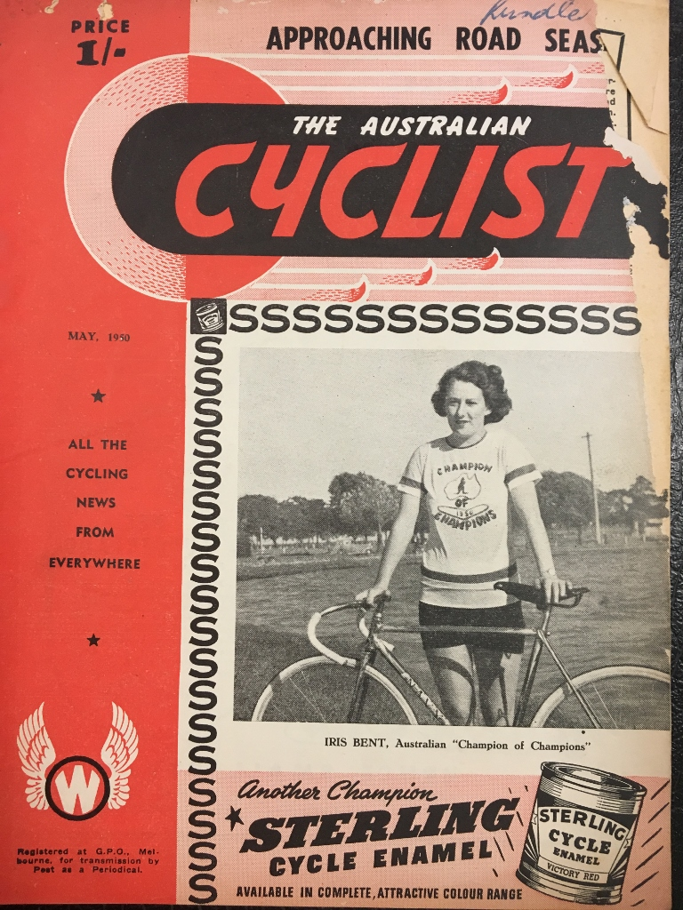 Iris makes the front over of The Australian Cyclist - with a worldwide distribution incl a US base - in May 1950