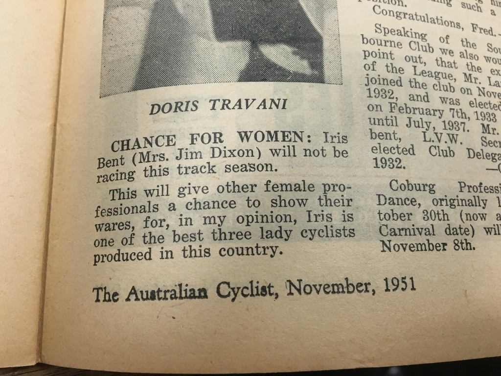 A Chance for Women - Iris' pregnancy is announced by June Long in The Australian Cyclist, 1951