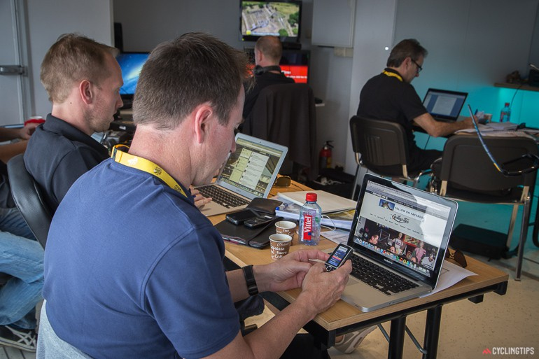 Inside the SBS van. From left to right: Stu, Scott, Mark and Mike. We fully endorse Scott's website viewing choices.