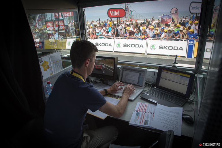 Matt Keenan's commentary box is located just above the finish line. Standing there talking to Matt, I could here Paul Sherwen and Phil Liggett commentating a few boxes to my left.