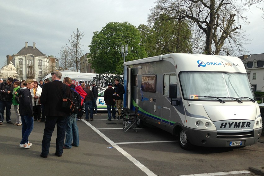 The Orica-AIS team camper: good for team meetings and for hiding from photographers.
