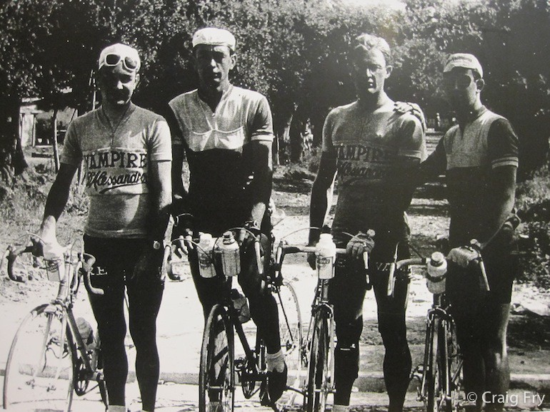 The Australian team for the 1955 World Championships in Frascati, Italy. From left to right: John Beasley, Arthurs Julius, Russell Mockridge and Jim Taylor.
