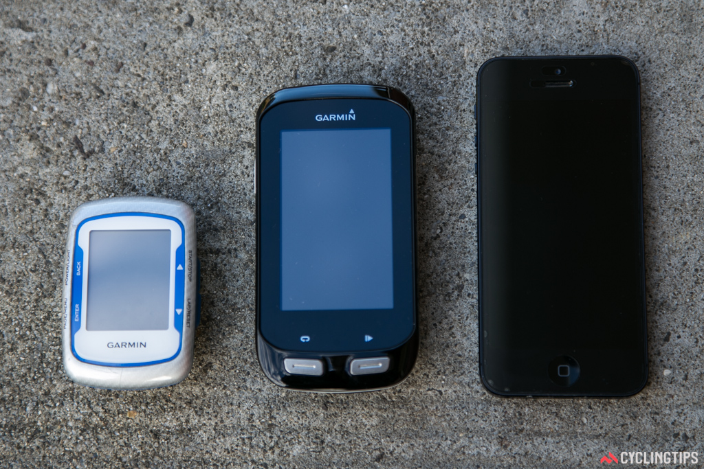 From left to right: Garmin Edge 500, Garmin Edge 1000 and an iPhone 5.
