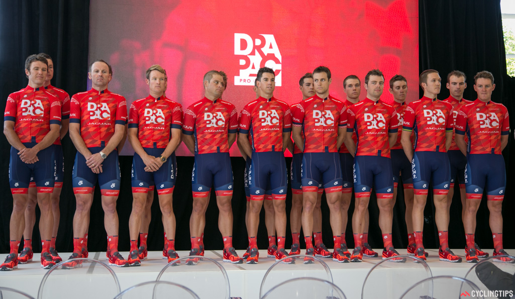 The Drapac riders assembled on stage during the 2015 team launch.