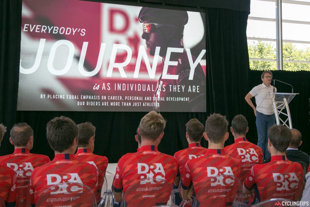 Michael Drapac gives his speech at the 2015 team launch in Adelaide.