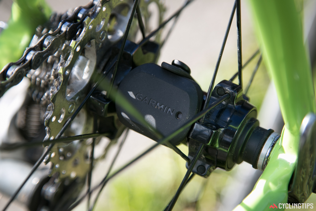 The speed sensor, mounted to the rear hub.