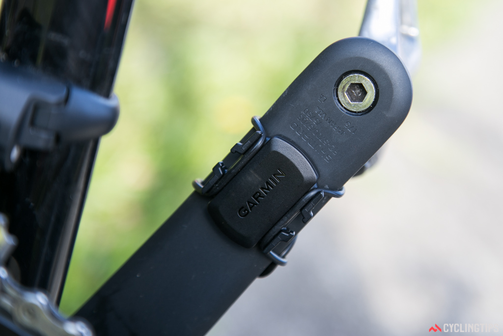 The cadence sensor mounted to the non-drive-side crank.
