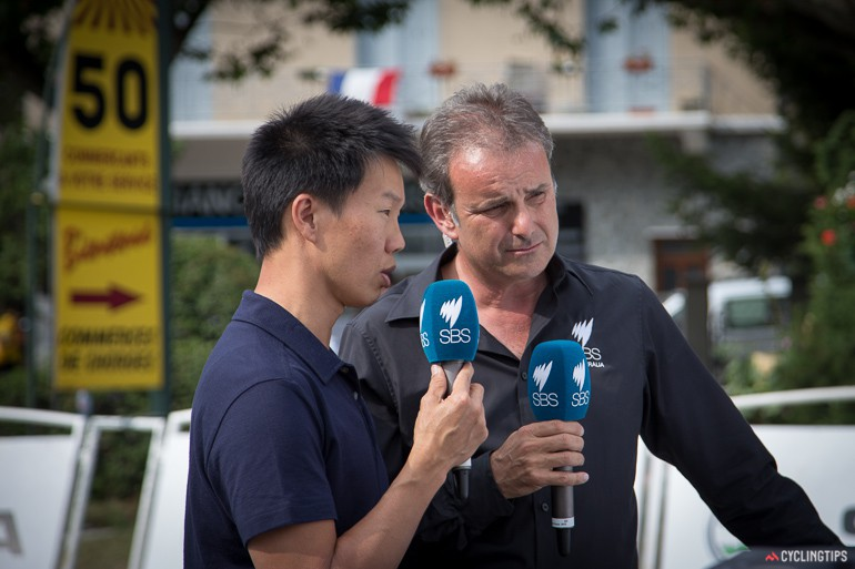 """Mike """"Tommo"""" Tomalaris (right) and Anthony """"Tan Man"""" Tan deliver their thoughts about the stage 17 ITT which was won by Chris Froome."""