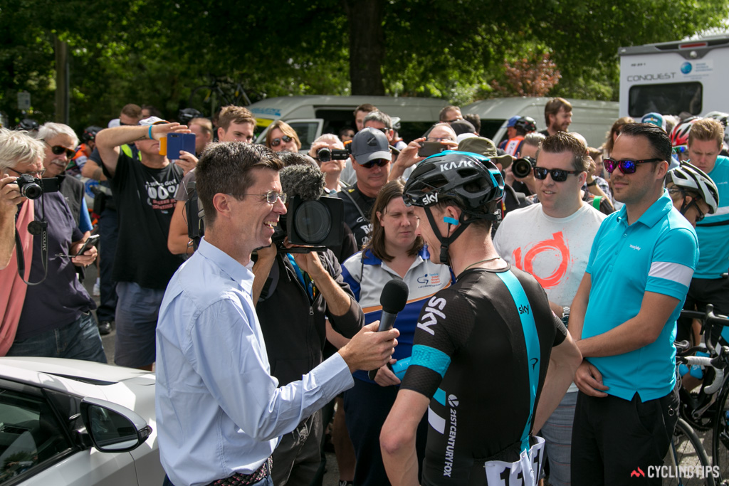 A large crowd gathered outside the Team Sky camper on stage 1 in Healesville.