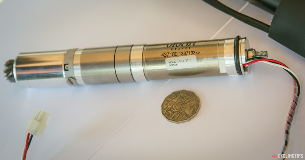 The motor is 220mm long and 31.6mm in diameter.