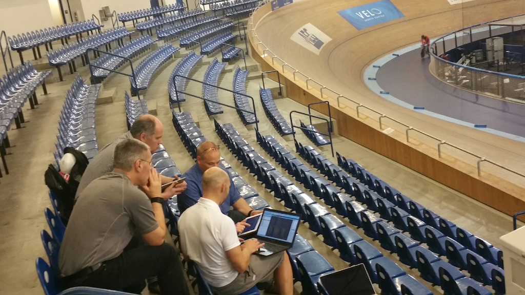 Four guys and a laptop: Analyzing data at the Los Angeles Velodrome.