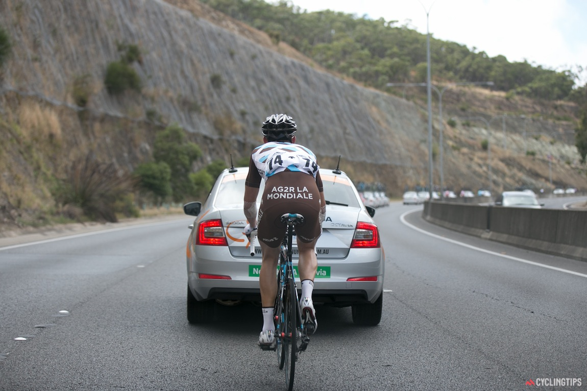 Maxime Daniel was popped off the back on the freeway climb and used the convoy to work is way back up.