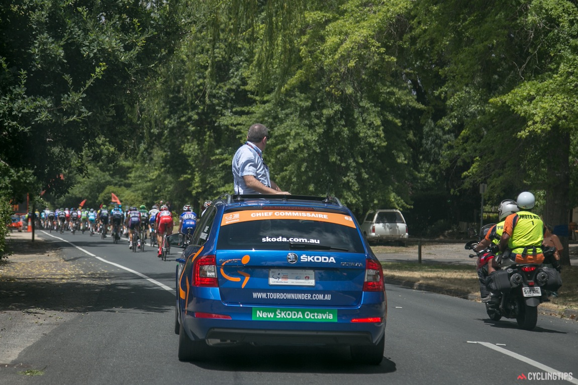 All vehicles in the convoy are under instruction by the race's chief commissaire, Philippe Marien.