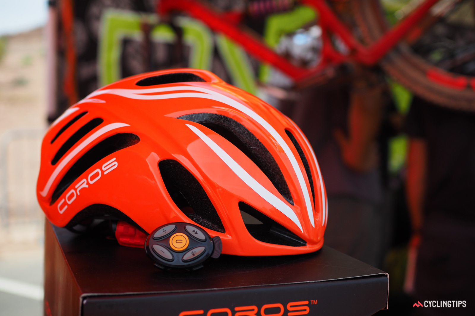 Upstart company Coros introduced a new connected road helmet, complete with wireless Bluetooth connectivity, bone conduction headphones, and a microphone for streaming audio, navigation prompts, and even taking calls on the go. Retail price is US$200. And yes, it looks an awful lot like a Specialized S-Works Evade helmet, but the company insists the resemblance is unintentional.
