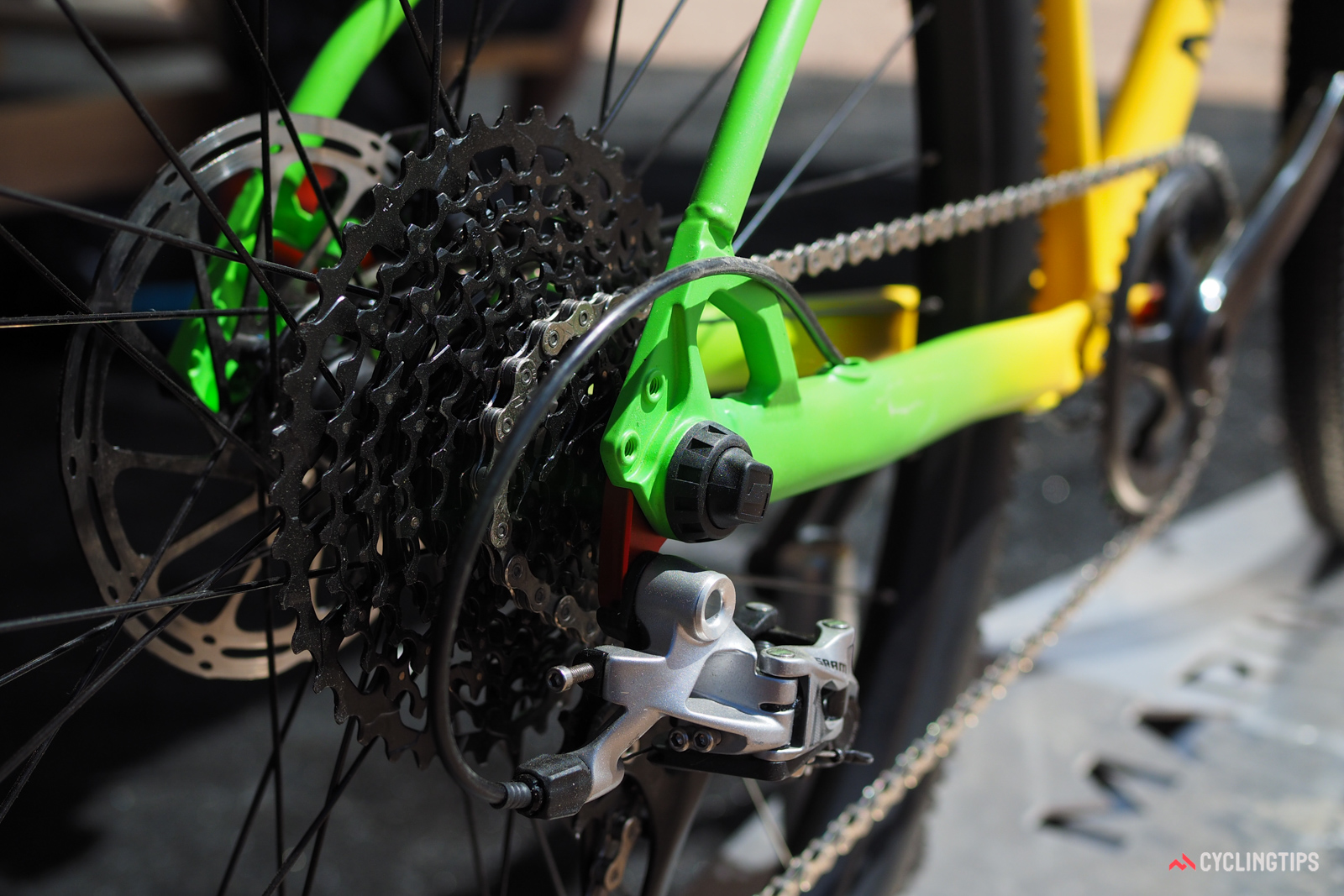 Marin fits both ends of the Four Corners Elite with thru-axle dropouts.