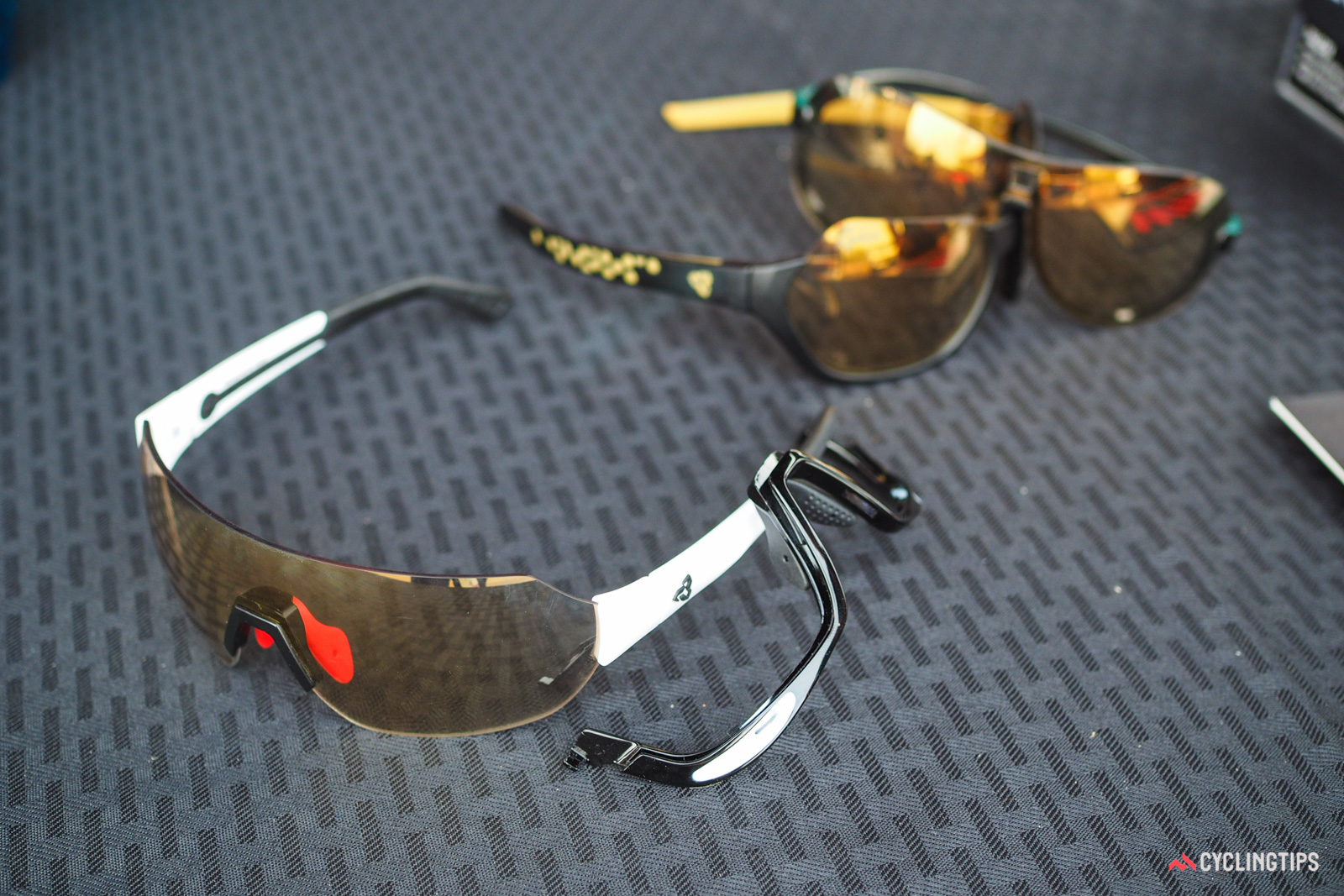 Ryders' new Roam sunglasses use NXT cast polycarbonate photochromic lenses with an anti-fog inner coating and a hydrophobic outer one. The lower half frame can be removed as needed or desired. Retail price is US$240.