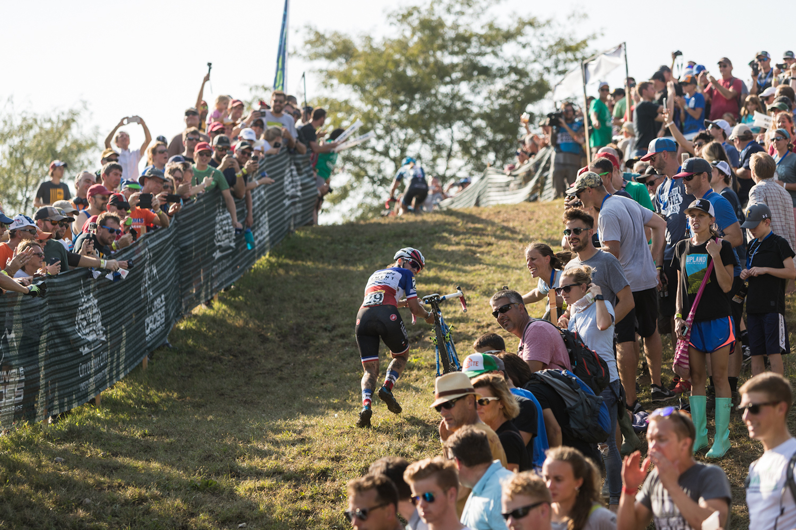 Fans lined the course as French national champion Caroline Mani (Raleigh-Clement) battled to second at the Iowa City World Cup. Photo: Wil Matthews/Jake Orness.