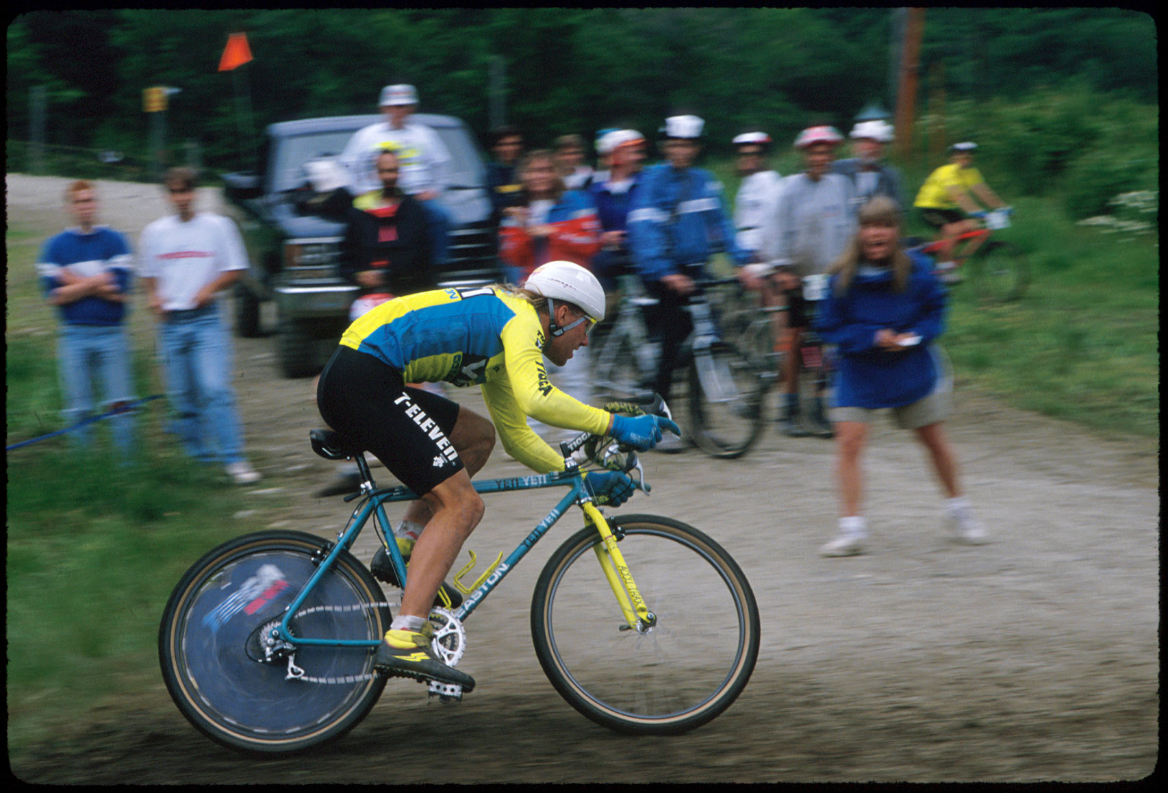 John Tomac, racing for Yeti but wearing his 7-Eleven road team shorts, in 1990. Photo by Tom Moran.
