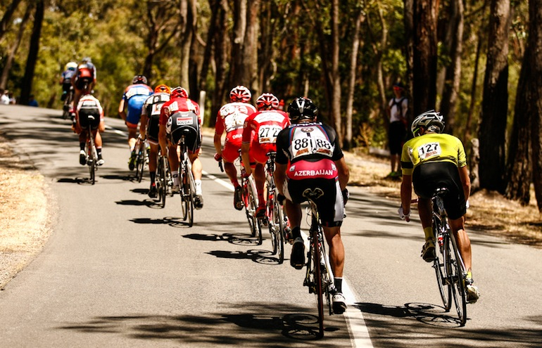 Will Walker (Baku) rides near the back of the 17 man breakaway at the 2014 Australian National Championships while having one of his worst episodes of tachycardia. Photo courtesy of Jarrod Partridge