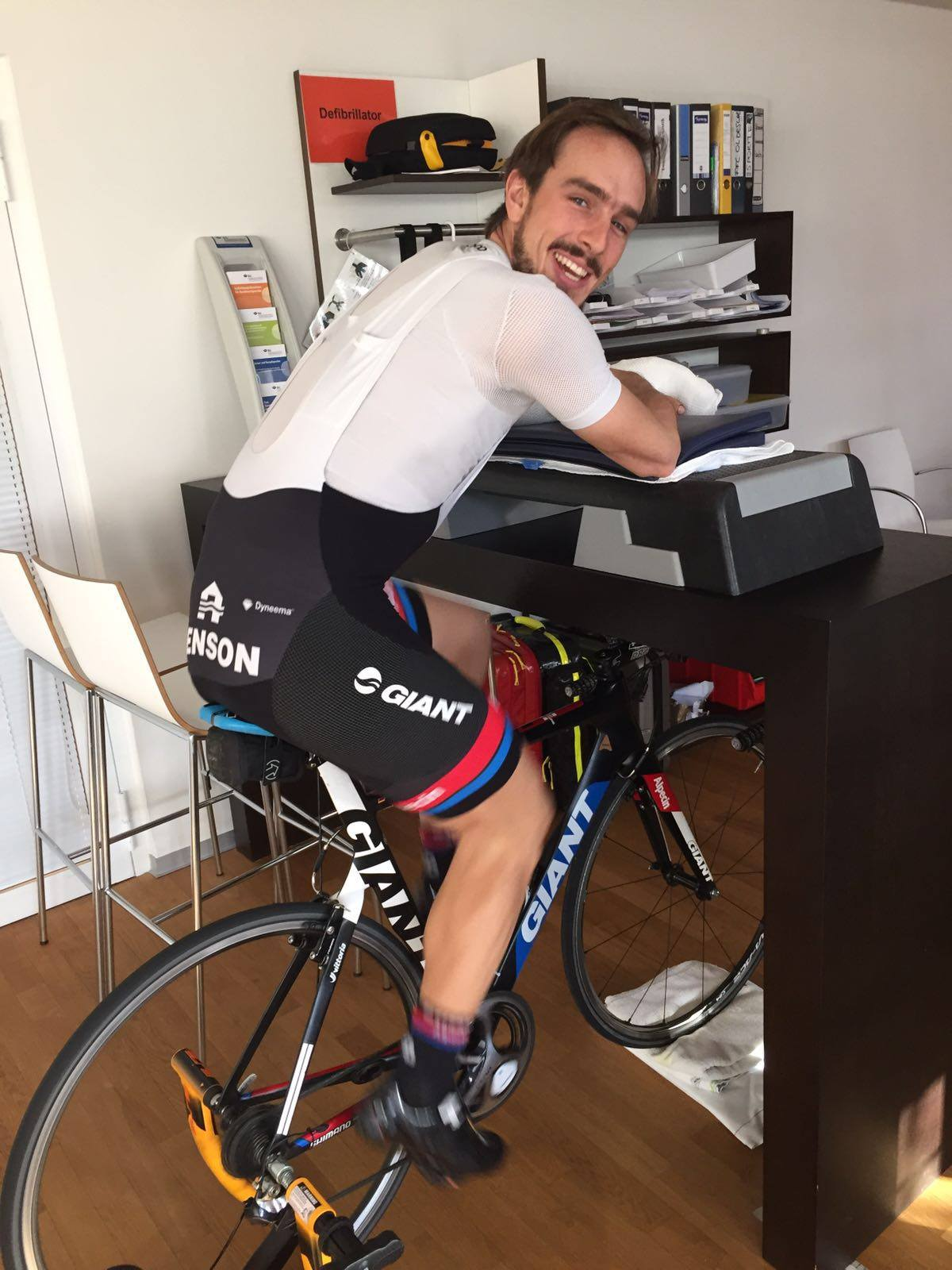 John Degenkolb with his setup as he begins to train again after his brutal crash. [Photo via his Facebook page]