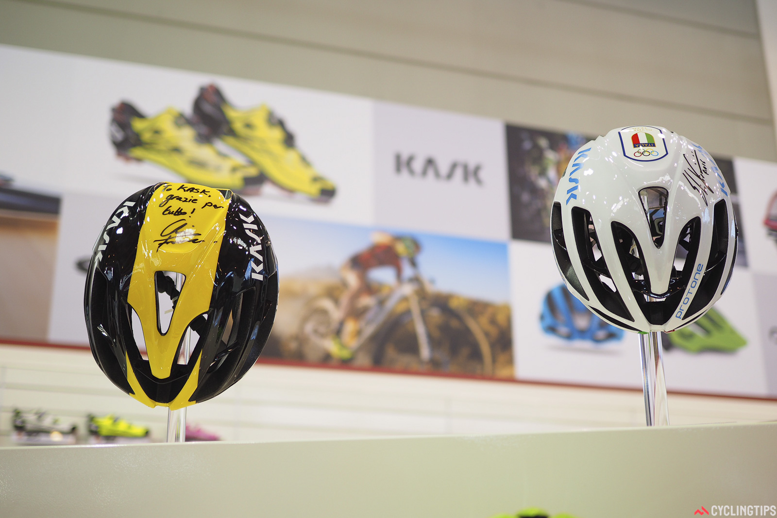 Kask has added some major feathers to its company cap this year, with Chris Froome winning the Tour de France in July, and Elia Viviani claiming the Olympic gold medal in the men's omnium. Photo: James Huang.