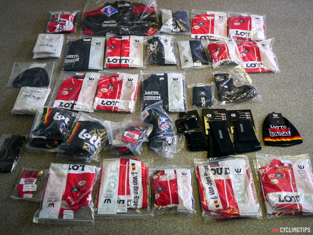 """Just a """"small"""" box of goodies for Jurgen Van den Broeck, sent over by Vermac to keep the rider warm in the spring months."""