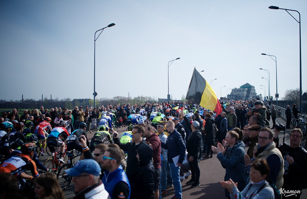 Big crowds cheering the peloton out of Maastricht.